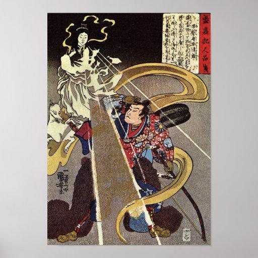 Man Confronting Fox Goddess Apparition Poster