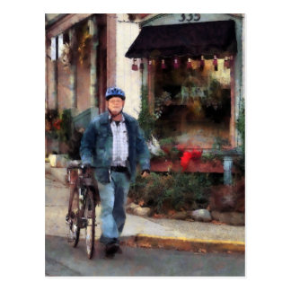 Man Crossing Street With Bicycle Post Card