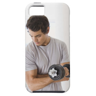 Man doing arm curls with weights iPhone 5 cases