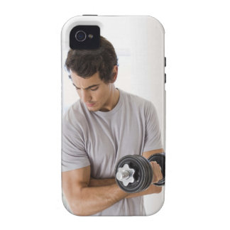 Man doing arm curls with weights iPhone 4 case