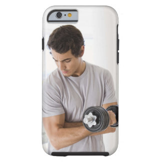 Man doing arm curls with weights tough iPhone 6 case