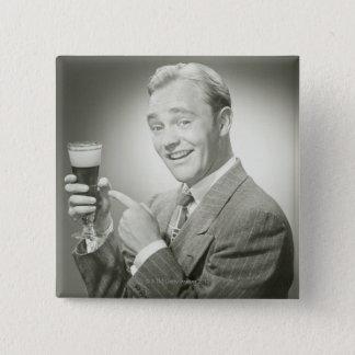 Man Drinking 15 Cm Square Badge