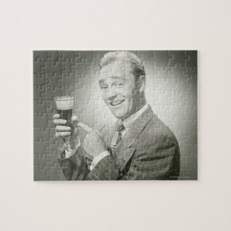 Man Drinking Jigsaw Puzzle