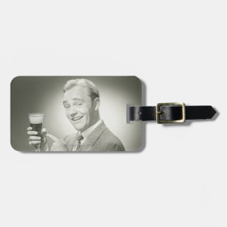 Man Drinking Luggage Tag