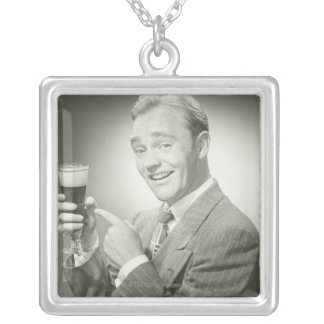 Man Drinking Silver Plated Necklace