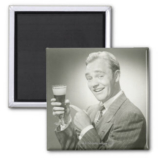 Man Drinking Square Magnet