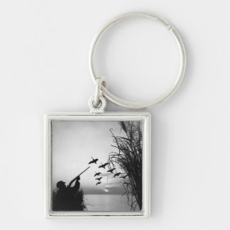 Man Duck Hunting Key Ring