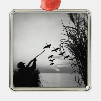 Man Duck Hunting Silver-Colored Square Decoration