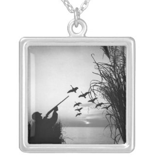 Man Duck Hunting Silver Plated Necklace
