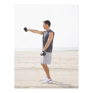 Man Exercising on Beach Postcard