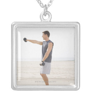 Man Exercising on Beach Silver Plated Necklace