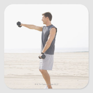 Man Exercising on Beach Square Sticker