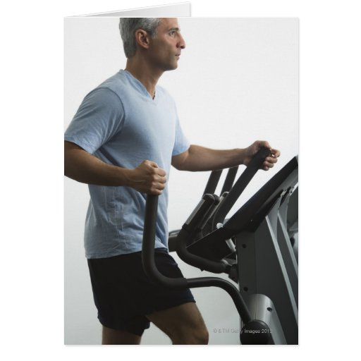 Man exercising on Stairmaster Card