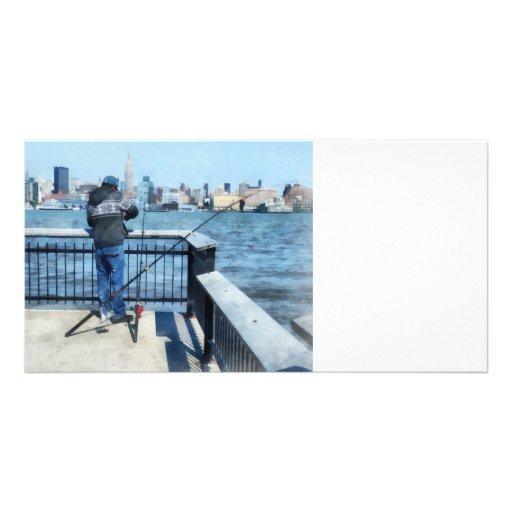 Man Fishing Off Hoboken Pier Photo Card