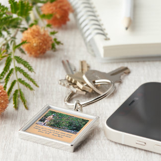 """""""MAN FISHING ON RIVERBANK +QUOTE ABOUT FISHING"""" Silver-Colored SQUARE KEY RING"""