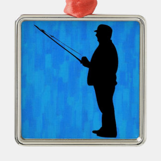 Man fishing with abstract blue background christmas ornament