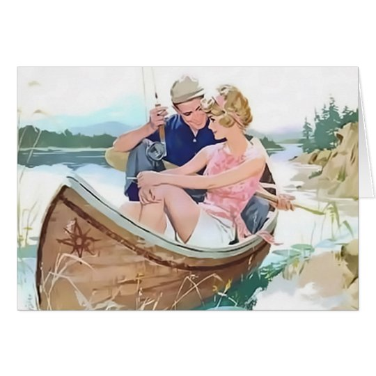 Man fishing with his girlfriend card
