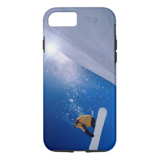 Man flying through the air on a snowboard with iPhone 8/7 case