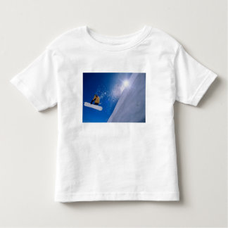 Man flying through the air on a snowboard with toddler T-Shirt