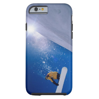 Man flying through the air on a snowboard with tough iPhone 6 case