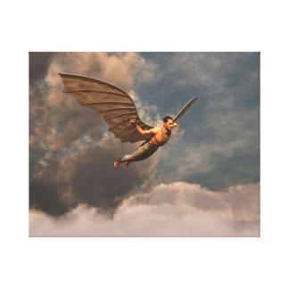 Man flying with artifciales wings canvas print