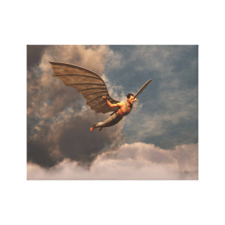 Man flying with artificial wings canvas print