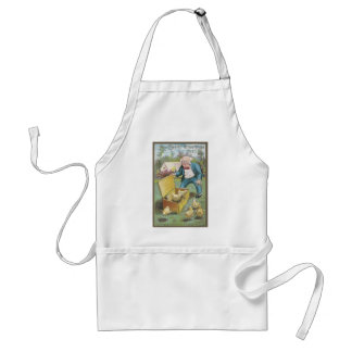 Man Frees Chicks from Wicker Basket Vintage Easter Apron