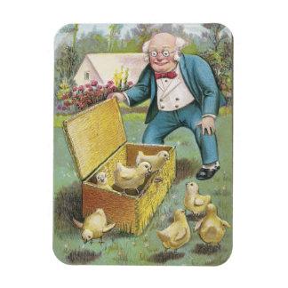 Man Frees Chicks from Wicker Basket Vintage Easter Rectangular Magnet