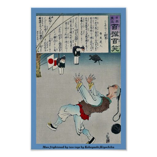 Man frightened by two toys by Kobayashi,Kiyochika Posters