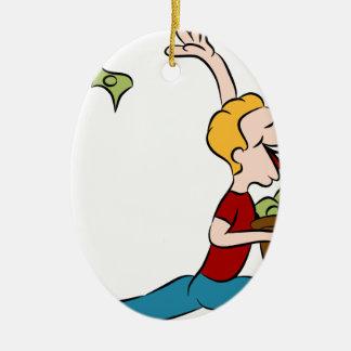 Man Giving Away Money Cartoon Ceramic Oval Decoration