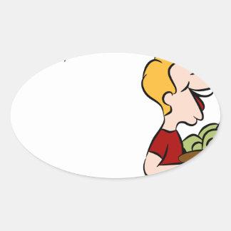 Man Giving Away Money Cartoon Oval Sticker