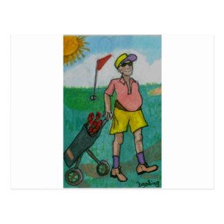 Man Golf Postcard