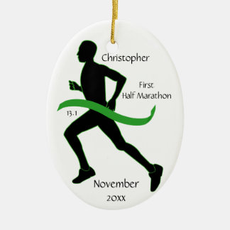 Man Half Marathon Runner Ornament in Lt Green