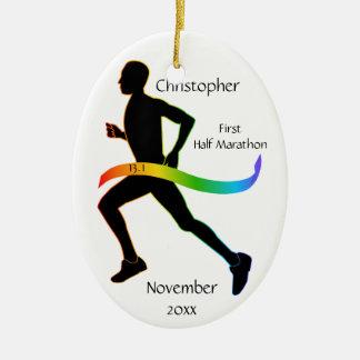 Man Half Marathon Runner Rainbow Ribbon Ornament