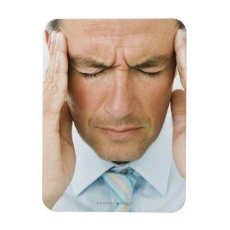 Man hands on head rectangular photo magnet