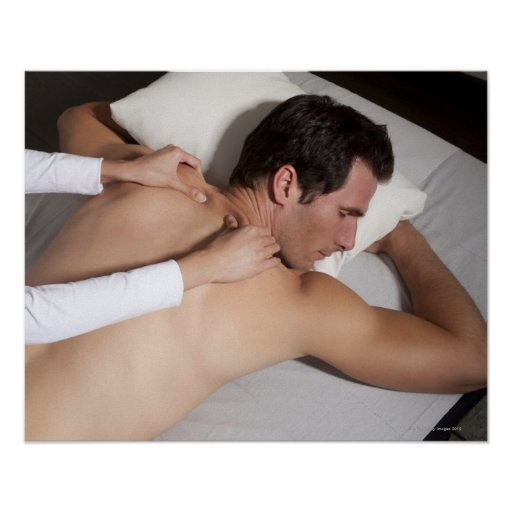 Man having a back massage from woman poster