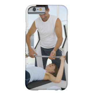 Man helping woman with weightlifting barely there iPhone 6 case