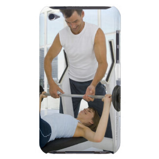 Man helping woman with weightlifting iPod touch case