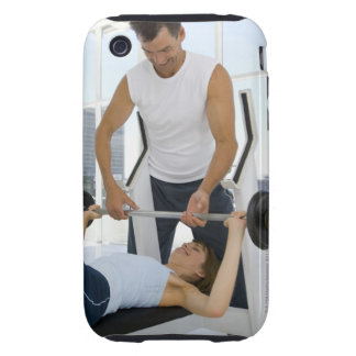 Man helping woman with weightlifting tough iPhone 3 case