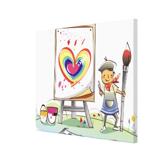Man holding a paintbrush and standing by an easel canvas print