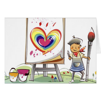 Man holding a paintbrush and standing by an easel card