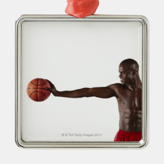 Man holding basketball Silver-Colored square decoration