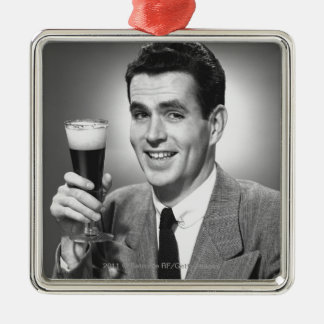 Man holding glass of beer in studio B&W Christmas Ornament