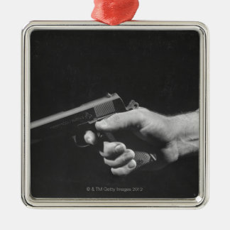 Man Holding Gun Silver-Colored Square Decoration