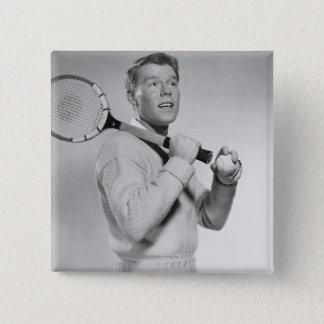 Man Holding Tennis Racket 15 Cm Square Badge