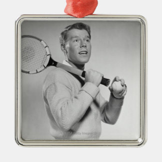 Man Holding Tennis Racket Christmas Ornament