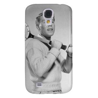 Man Holding Tennis Racket Galaxy S4 Case