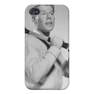 Man Holding Tennis Racket iPhone 4 Cases