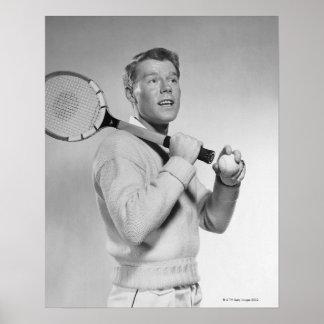 Man Holding Tennis Racket Print