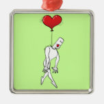 Man Hung by a Heart Balloon Christmas Tree Ornaments